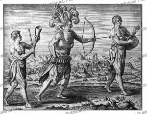 military dress of warriors of congo, theodoor de bry, 1609