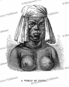 a woman of uguha on the west bank of lake tanganyika, congo, henry morton stanley, 1878