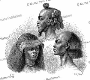Different hairstyles of the Maniema people in Congo, Gustav Mu¨tzel, 1891 | Photos and Images | Digital Art
