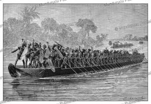 a war canoe of the wavuma advancing to battle, congo, emile bayard, 1878