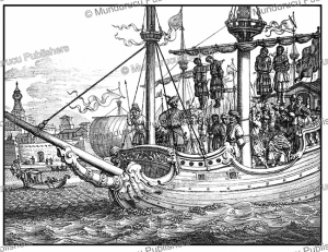 the king of aden hung on the mast of soliman bassus' galleon, yemen, 1672
