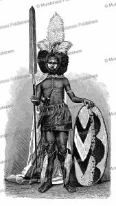 Maasai warrior in war costume, E. Krell, 1885 | Photos and Images | Digital Art
