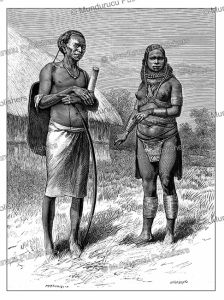 young girl m'teita and m'teita from ndara, a maasai people of kenya, y. pranishnikoff, 1885