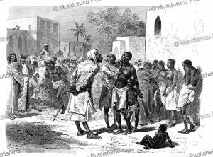 slave market in zanzibar, emile bayard, 1865