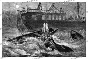 Hippopotamus attacks the boat of Samuel White Baker at night, Uganda, Johann Baptise Zwecker, 1874 | Photos and Images | Digital Art
