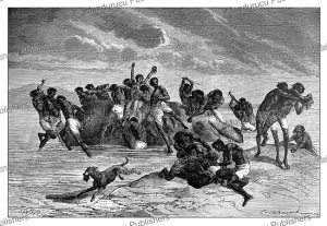A feeding-frenzy on a hippopotamus, with Samuel White Baker, Emile Bayard, 1872 | Photos and Images | Digital Art