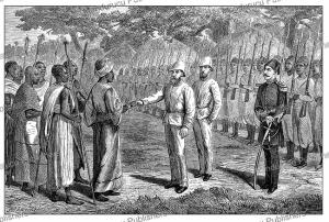 samuel baker receiving king rionga of bunyoro, western uganda, johann baptise zwecker, 1874