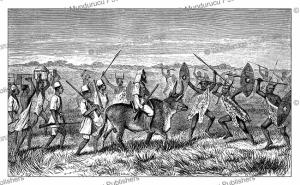 Satanic warriors of Kamrasi escorting Samuel White Baker to the lake, Johann Baptiste Zwecker, 1866 | Photos and Images | Digital Art