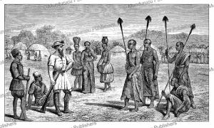 Chiefs of Bunyoro examining Samuel White Baker in Western Uganda, Johann Baptiste Zwecker, 1866 | Photos and Images | Digital Art