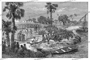 Liberation of slaves by Samuel White Baker after the capture of slave ships, Uganda, Johann Baptise Zwecker, 1874 | Photos and Images | Digital Art