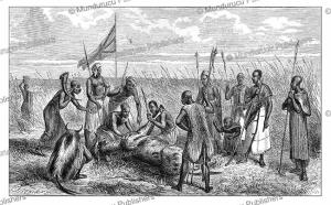 Magicians, hunters and the dwarf of King Kamrasi killing a cow, Western Uganda, Johann Baptist Zwecker, 1863 | Photos and Images | Digital Art