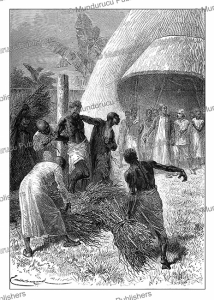 Stanley witnesses an old Uvuma chief being put to death in front of the Emperor and all the nobles, Uganda, Emile Bayard, 1878 | Photos and Images | Digital Art