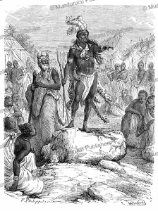 king kalulu speaks, a character from the novel kalulu by henry stanley, philippoteaux, 1877