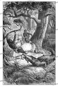 Attack by the crocodile in Tanzania, from the novel Kalulu by Henry Stanley, Philippoteaux, 1877 | Photos and Images | Digital Art