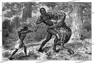 Fight with the leopard in Tanzania, from the novel Kalulu by Henry Stanley, Johann Baptiste Zwecker, 1890 | Photos and Images | Digital Art