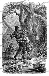 Fight with the leopard in Tanzania, from the novel Kalulu by Henry Stanley, Philippoteaux, 1877 | Photos and Images | Digital Art