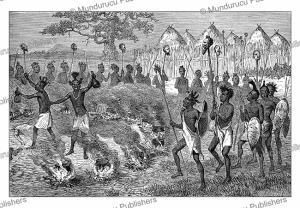 the magic drink, warriors of king mirambo celebrating their victory, tanzania, johann baptise zwecker, 1890