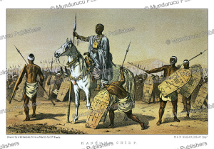 chief of the kanemma tribe in the kanem-bornu empire (now chad) with his warriors, j.m. bernatz, 1857