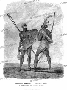 warriors in the service of the sheikh of bornu (chad), major denham, 1826