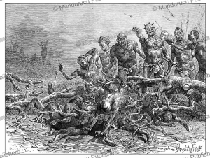 the victors fighting over the spoils of their conquest at bagirmi, bornu, now chad, pranishnikoff, 1880
