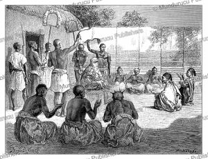 reception by the mbang, the king of bagirmi, bornu, now chad, pranishnikoff, 1880