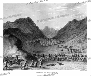 attack on the felatah people at musfeia, bornu, major denham, 1826