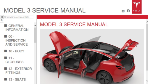 Second Additional product image for - Tesla Model 3 Service Manual Electrical Wiring diagrams