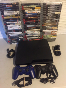 sony playstation 3 ps3 console 2 controllers 5 games video game system bundle