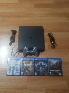 sony cuh-2215b ps4 playstation 4 slim 1tb game console system 4 games bundle
