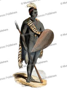 kaffir warrior, south africa, theophile emanuel duverger, 1843