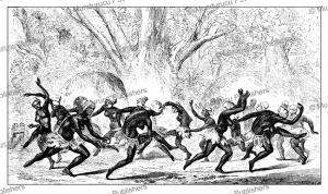melon dance by hottentot girls, thomas bains, 1864