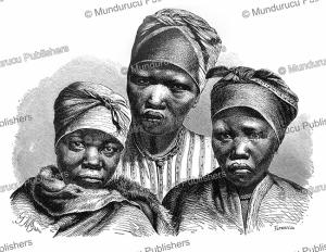 nama or namaqua girls, a khoikhoi (hottentot) tribe, namibia, gustav mu¨tzel, 1885