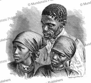 nama or namaqua people, a khoikhoi (hottentot) tribe, namibia, gustav mu¨tzel, 1885