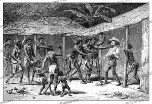 Alfred Marche entering a village of the Gabonese Mahongwe People (Osseyba), D. Maillart, 1884 | Photos and Images | Digital Art