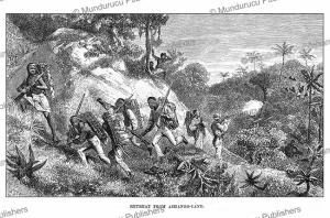 Paul du Chaillu retreats from Ashongo-land, French Congo or Gabon, Johann Baptiste Zwecker, 1867   Photos and Images   Digital Art