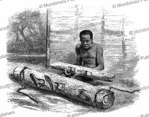 Prisoner in Nchogo in Ashongo-land, French Congo or Gabon, Johann Baptiste Zwecker, 1867 | Photos and Images | Digital Art