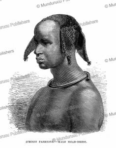 Ishogo fashion, male hairstyle, Ashango-land (French Congo or Gabon), Johann Baptiste Zwecker, 1867 | Photos and Images | Digital Art