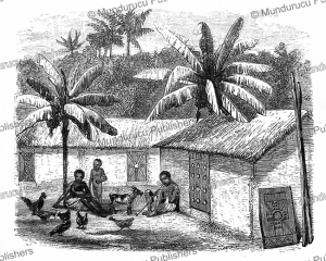 Ishogo houses with ornamented doors, Ashango-land, French Congo or Gabon, Johann Baptiste Zwecker, 1867 | Photos and Images | Digital Art