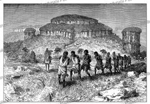 a slave caravan of the mana oule tribe in french sudan (gabon), edouard riou, 1883