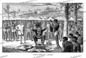 the scary ouganga or doctor determining who in the village of the apingi are witches, gabon, paul du chaillu, 1861