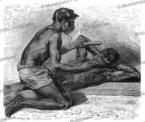 Filing the teeth of Fang or Fan men, Gabon (French Congo), D. Maillart, 1878 | Photos and Images | Digital Art
