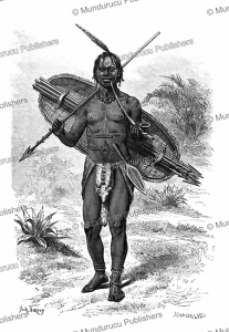 young obamba warrior, french congo, sirouy, 1888
