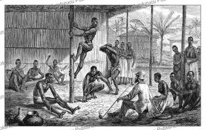 a group of natives performing the gorilla dance in omboue´ before winwood reade, gabon, johann baptiste zwecker, 1885