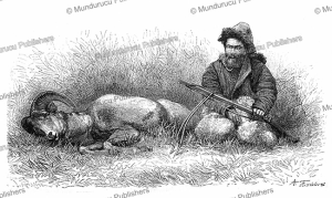 Kyrgyz (Kirghiz) and his just killed argali (mountain sheep), A. Fredinandus, 1879 | Photos and Images | Digital Art