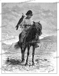 falconer of kashgaria near kyrgyzstan, delort, 1878