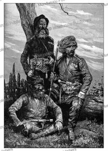 militia of gori in georgia, the caucasus, e. burnand, 1884