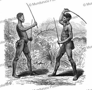 young zulu men simulating a fight, gustav mu¨tzel, 1885
