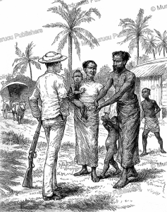 english man negotiating with locals for the bait to catch a crocodile in ceylon, the graphic, 1888