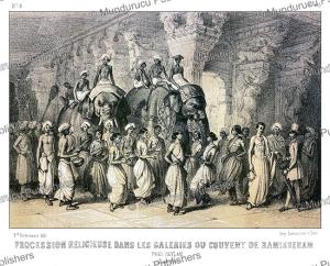 religious procession at the ramalingeshwara temple, tamil nadu near ceylon (sri lanka), alexis soltykoff, 1851