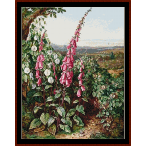 cornfield with foxgloves - a.d. lucas cross stitch pattern by cross stitch collectibles